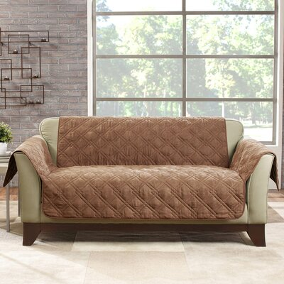 Deluxe Loveseat Slipcover Color: Brown