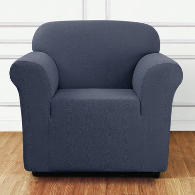 Side Box Cushion Armchair Slipcover Upholstery: Storm Blue