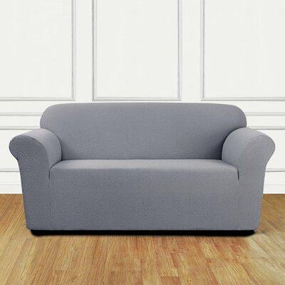Box Cushion Loveseat Slipcover Upholstery: Mist
