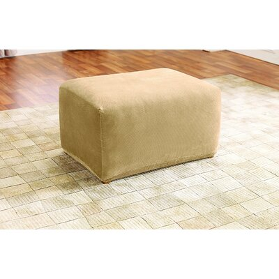 Stretch Pique Oversized Ottoman Slipcover Color: Cream