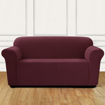 Stretch Mini Chevron Loveseat Slipcover Color: Garnet
