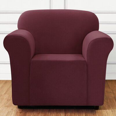 Stretch Mini Chevron Arm Chair Slipcover Color: Garnet