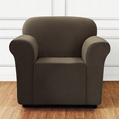 Stretch Mini Chevron Arm Chair Slipcover Color: Dark Chocolate