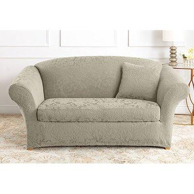 Stretch Jacquard Damask Sofa Slipcover Upholstery: Sage