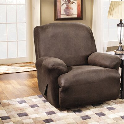 Stretch Leather Recliner Slipcover Upholstery: Brown