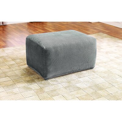 Stretch Pique Oversized Ottoman Slipcover Color: Flannel Gray