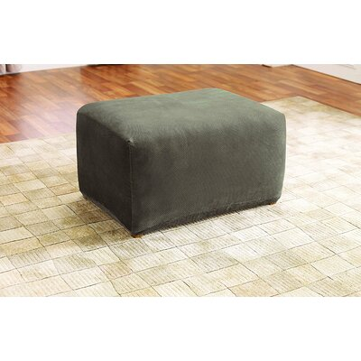 Stretch Pique Ottoman Slipcover Color: Taupe