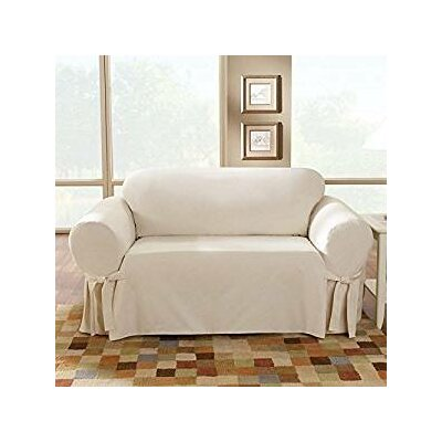 Cotton Duck Loveseat Skirted Slipcover Upholstery: Natural