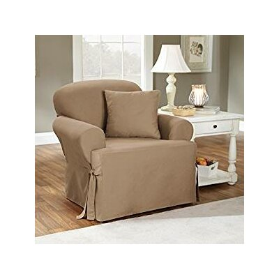 Cotton Duck Armchair T-Cushion Slipcover Upholstery: Sage