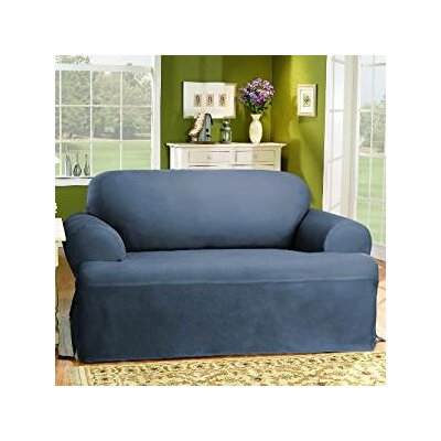 Cotton Duck Loveseat T-Cushion Slipcover Upholstery: Bluestone