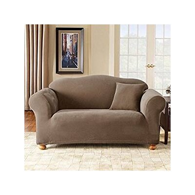 Stretch Pique Box Cushion Sofa Slipcover Upholstery: Taupe