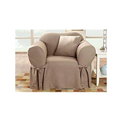 Cotton Duck Box Cushion Arm Chair Slipcover Upholstery: Linen