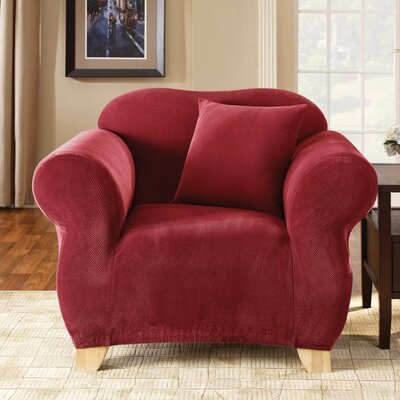 Stretch Pique Armchair Slipcover Upholstery: Claret