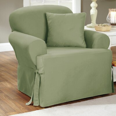 Cotton Duck Arm Chair Slipcover Upholstery: Sage