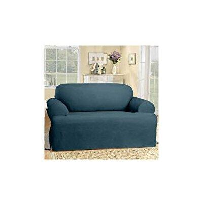 Cotton Duck Sofa T-Cushion Slipcover Upholstery: Bluestone