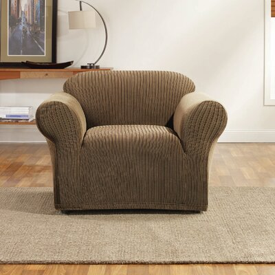Ribbon Stripe Skirted Fabric Armchair Slipcover Upholstery: Taupe