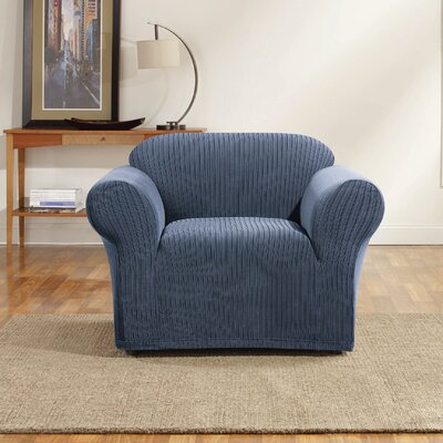 Ribbon Stripe Skirted Fabric Armchair Slipcover Upholstery: Indigo