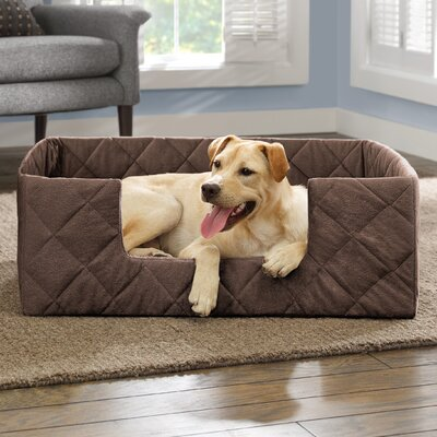 Portable Bolster Pet Bed Size: 25 L x 17 W, Color: Chocolate