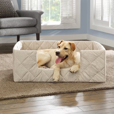 Portable Bolster Pet Bed Size: 25 L x 17 W, Color: Beige