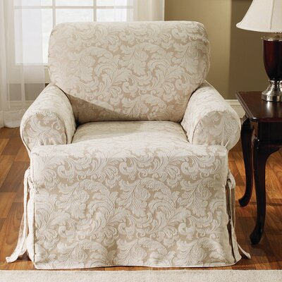 Scroll Classic Fit Armchair Slipcover Upholstery: Champagne
