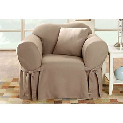 Cotton Duck Box Cushion Armchair Slipcover Upholstery: Linen