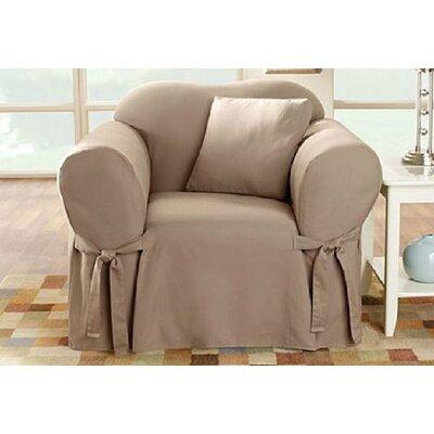 Cotton Duck Box Cushion Armchair Slipcover Upholstery: Linen
