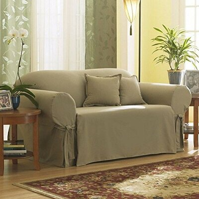 Cotton Duck Box Cushion Loveseat Slipcover Upholstery: Linen
