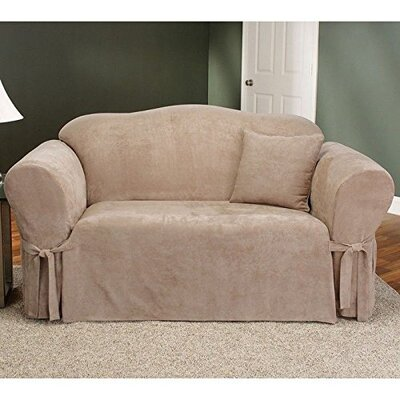 Soft Suede Box Cushion Sofa Slipcover Upholstery: Taupe