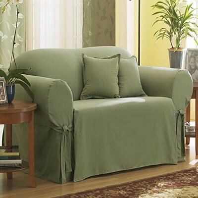 Cotton Duck Box Cushion Loveseat Slipcover Upholstery: Sage