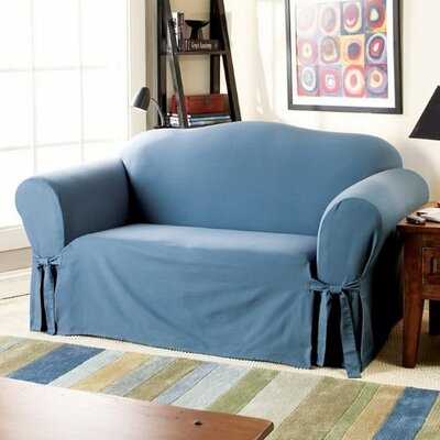 Cotton Duck Loveseat Skirted Slipcover Upholstery: Bluestone