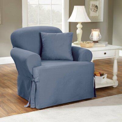 Cotton Duck T-Cushion Armchair Slipcover Upholstery: Bluestone