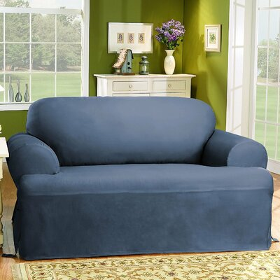 Cotton Duck T-Cushion Loveseat Slipcover Upholstery: Bluestone