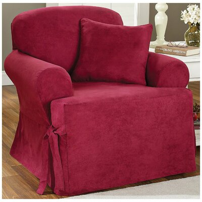 Soft Suede Armchair T-Cushion Slipcover Upholstery: Burgundy