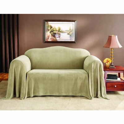 Plush Loveseat Slipcover Upholstery: Wheat