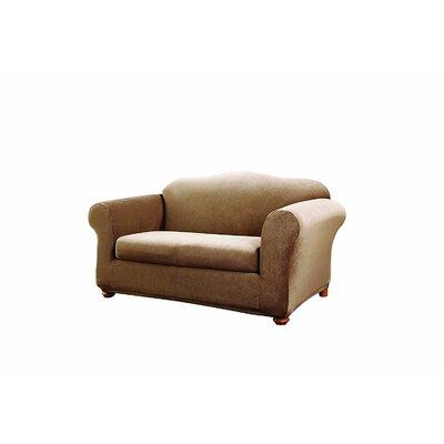 Stretch Stripe Loveseat Slipcover Upholstery: Brown