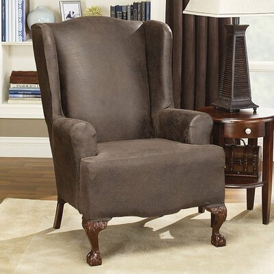 Stretch Leather T-Cushion Wingback Slipcover Upholstery: Brown