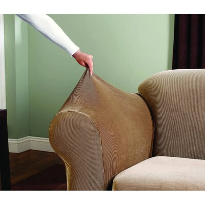 Stretch Stripe Armchair Slipcover Upholstery: Brown
