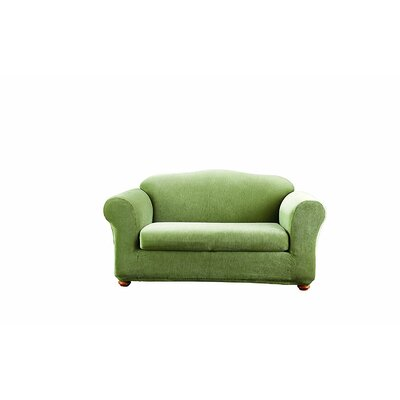 Stretch Stripe Box Cushion Sofa Slipcover Upholstery: Sage