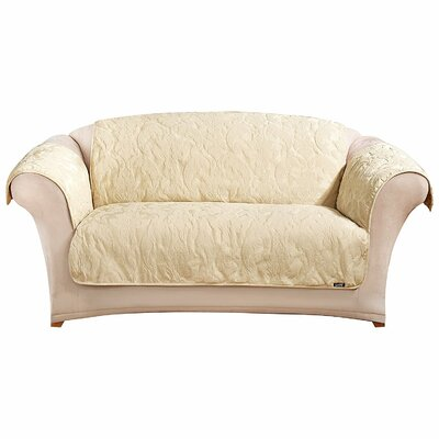 Matelasse Damask Loveseat Throw Cover Upholstery: Tan