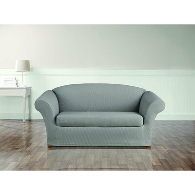 Stretch Seersucker Box Cushion Loveseat Slipcover Color: Coastal Gray