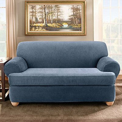 Stretch Stripe T-Cushion Sofa Slipcover Upholstery: Navy