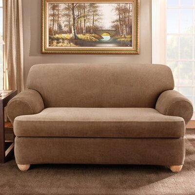 Stretch Stripe Sofa T-Cushion Slipcover Upholstery: Sand