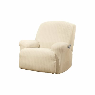 Stretch Pinstripe T-Cushion Recliner Slipcover Upholstery: Cream