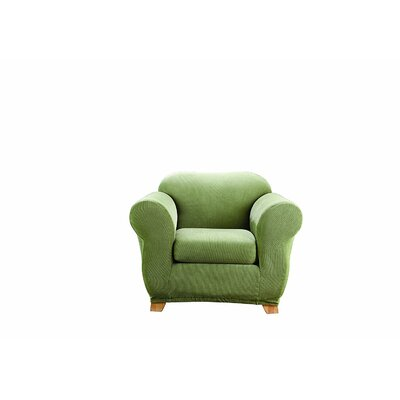 Stretch Stripe Armchair Slipcover Upholstery: Sage