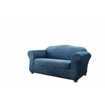 Stretch Stripe Box Cushion Loveseat Slipcover Upholstery: Navy