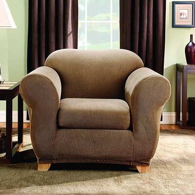 Stretch Stripe Box Cushion Armchair Slipcover Upholstery: Brown