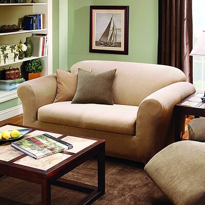Stretch Stripe Box Cushion Loveseat Slipcover Upholstery: Sand