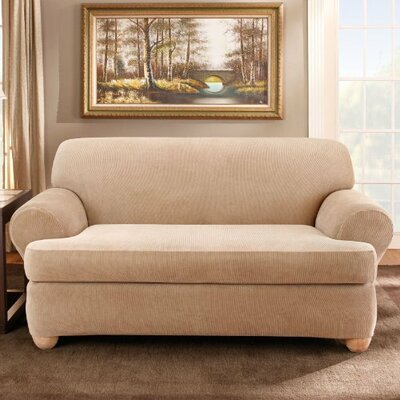 Stretch Stripe Loveseat T-Cushion Slipcover Upholstery: Sand