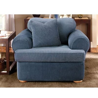 Stretch Stripe Armchair T-Cushion Slipcover Upholstery: Navy