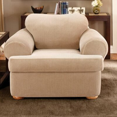 Stretch Stripe T-Cushion Armchair Slipcover Upholstery: Sand